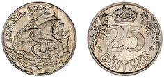 25 CENTS / 25 CÉNTIMOS. Ni. ALFONSO XIII. CARAVEL / CARABELA. 1925 PCS. UNC/SC.