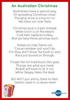 Christmas poetry for kids ** Aussie Christmas Christmas Decorations Australian, Australian Christmas Cards, Aussie Christmas, Summer Christmas, Xmas Decorations, Funny Christmas Poems, Christmas Verses, Christmas Art, All Things Christmas