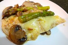 gruyere chicken with mushrooms and asparagus from LifeOnExcess.com - low calorie and low carb!