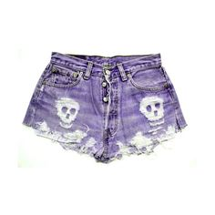 ANY COLOR Ripped Skull Frayed Denim High-Waisted Shorts (110 BRL) ❤ liked on Polyvore featuring shorts, bottoms, pants, short, destroyed denim shorts, short shorts, distressed high waisted shorts, high-waisted denim shorts and high waisted shorts