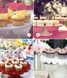 Ideas de cómo servir los cupcakes en tu mesa de dulces, de www.fiestafacil.com / Ideas for serving cupcakes at your sweet table, from www.fiestafacil.com