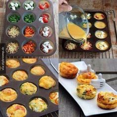 Super einfaches Rezept! Alles was man braucht ist in eine Muffinform und Lieblingsgemüse. Gemüse in verschienen Variation in den Formen platzieren. In einer Schüssel Eier mit Milch mischen und etwas mit Salz und Pfeffer würzen. Mischung dann über das Gemüse gießen! Nur noch in den Backofen schieben bis das Ganze fest ist und fertig sind die kleinen Omelettes mit Gemüsefüllungen! Noch mehr Rezepte gibt es auf www.Spaaz.de