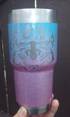 My momma bear tumbler spray paint , glitter spray paint & 2part epoxy FDA approved