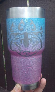 My momma bear tumbler spray paint , glitter spray paint & 2part epoxy FDA approved