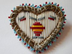 Heartshaped quill and bead pin by Monica Alexander  (Métis, Mi'kmaq) on Etsy