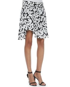Floral-Print Belted Skirt, Black/White - A.L.C.