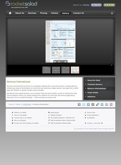 A sample Gallery page (here in the Classic theme) showing wireframe examples of design work we did for Nomura International. Legacy System, Rocket Salad, Virgin Media, Classic Theme, Sign Out, Wireframe, User Experience, Product Launch, Website