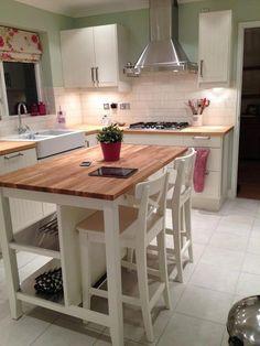 Kitchen Island Storage, Modern Kitchen Island, Kitchen Island With Seating, Ikea Kitchen, Home Decor Kitchen, Kitchen Interior, Home Kitchens, Kitchen Islands, Ikea Butcher Block Island