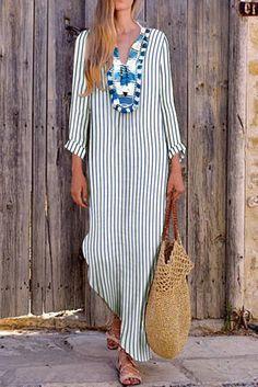 Sexy Loose Strip V Collar Long Sleeve Vacation Maxi Dressmaxi dress summer,maxi dress outfit,maxi dress casual, Vestido Maxi Floral, Vestido Casual, Floral Print Maxi Dress, Sexy Maxi Dress, Maxi Dress With Sleeves, Maxi Dresses, Dress Beach, Pink Dress, Long Dresses