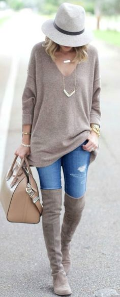 #fall #outfits women's brown v-neck sweater, distressed denim jeans and pair of suede knee high boots outfit