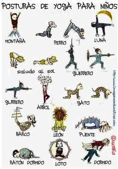 Yoga poster for kids. Helps to inspire little ones to try out a few yoga poses! Ashtanga Vinyasa Yoga, Yoga Kundalini, Yoga Meditation, Zen Yoga, Partner Yoga, Chico Yoga, Yoga Nature, Mudras, Baby Yoga