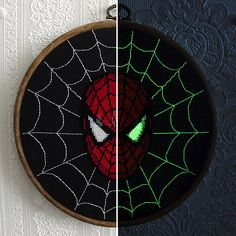 spiderman cross stitch that glows in the dark -- grandsons would like this.