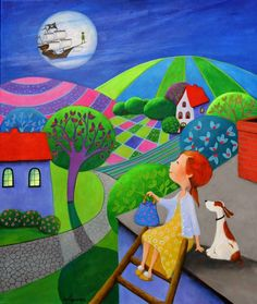 "Artist: Iwona Lifsches; Acrylic 2013 Painting ""Ulla and Her New Easter Bonnet…"