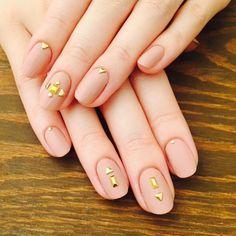 Nail Unistella by EK . Lab — #minimal #stud #mattnails #nudenails #nails...