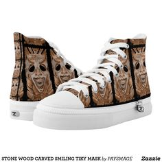 STONE WOOD CARVED SMILING TIKY MASK High-Top SNEAKERS Designer Shoes, Converse Chuck Taylor, High Tops, Athletic Shoes, High Top Sneakers, Carving, Pairs, Stone, Wood