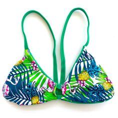 Reversible V-Back Bikini Top - Green/Palm (Huntington)