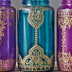 Jewel Toned Mason Jar Vase Gypsy Wedding Centerpiece by LITdecor
