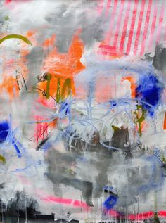 Wonderland #1 - Peinture,  90x120x0,2 cm ©2016 par Daniela Schweinsberg -                                                                                    Art abstrait, Expressionnisme abstrait, Peinture contemporaine, Toile, Art abstrait, abstract, modern, contemporary, pink, neon, stripes, blue, spray paint, urban, street art, graffiti, large, bright, vibrant, abstrakt, rosa, streifen, groß