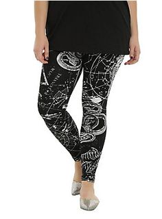 The perfect pair of leggings to wear when Mercury is in retrograde. Crazy things can happen, but you'll be ready! Black leggings with allover white astrological print designs.| Hot Topic