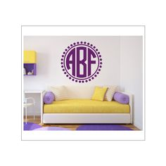 Monogram Vinyl Decal Monogram Wall Decal Wreath Initial Laurel Wreath... ($16) ? liked on Polyvore featuring home home decor wall art black homu2026  sc 1 st  Pinterest & Monogram Vinyl Decal Monogram Wall Decal Wreath Initial Laurel ...