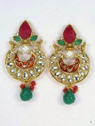 Exquisite Gold Plated  Earrings With Multi Color Stone