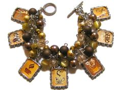 Coffee Addict Altered Art Charm Bracelet Gold Brown Tan Beaded by moonstruckboutique