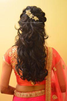 Indian bride's reception hairstyle by Swank Studio. Curls. Bridal lehenga. Hair Accessories. Tamil bride. Telugu bride. Kannada bride. Hindu bride. Malayalee bride. Find us at https://www.facebook.com/SwankStudioBangalore