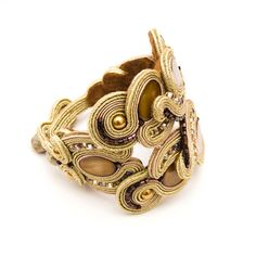 Big+unique+bracelet+with+gold+soutache+feminine+jewelry+by+MANJApl,+$130.00