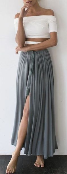 #summer #outfits / gray maxi skirt + off the shoulder crop top