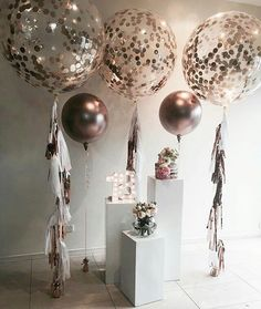 "697 Likes, 20 Comments - MICHELLE SEVERINO CBA (@partysplendour) on Instagram: ""A copper theme for a special 18th birthday with our rose gold balloons.  Plinths by @stylish.touch…"""