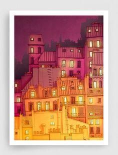 Paris illustration - Montmartre at night - Art illustration,Art print,Art Poster,Paris art,Paris decor,wall decor,yellow,orange,red