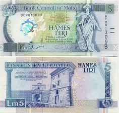 malta money   Liri 2000 (Malta; map & clock hologram) [ Obverse & Reverse ]