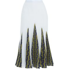Francesco Scognamiglio     Contrast Print A-line Slit Skirt ($1,470) ❤ liked on Polyvore featuring skirts, white, white pleated skirt, white high waisted skirt, high waisted skirts, white knee length skirt and high-waisted skirts