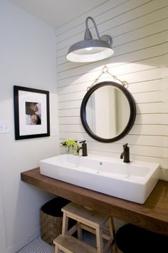 Modern Farmhouse Bathroom Light Trough Sink With Double Faucets Floating Wood Vanity Horizontal Plank Wall