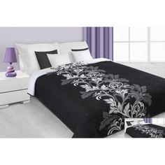 Přehozy černobílé na manželskou postel s ornamenty ve tvaru květů - dumdekorace.cz