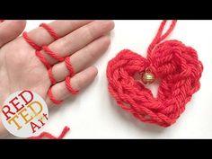 Finger Knitting Heart Ornament - Red Ted Art's Blog