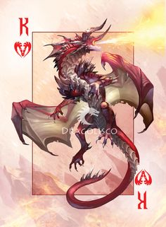 I introduce the King of Hearts of my Dragon Playing Cards project that I'm planning to release on Kickstarter. King of Hearts Monster Design, Monster Art, Mythical Creatures Art, Fantasy Creatures, Creature Concept Art, Creature Design, Figurine Dragon, Dragon Silhouette, Dragon Artwork