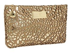 The Ivanka Trump Slim Case clutch, a unique nine inch clutch with a metallic sheen under a synthetic leather pattern. Gold Clutch, Clutch Bag, Mary Kay Bag, Ivanka Trump, Handbag Accessories, Purses, Shoe Bag, Leather, Things To Sell