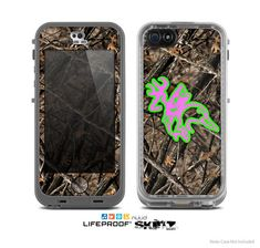 The Real Camouflage and Pink/Green Hunting Icon Skin for the iPhone 4/4s, 5/5s or 5c LifeProof Case