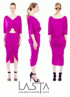 The NEW Logan Wrap Skirt and Logan Drape Top in Orchid by Kali. Sophisticated outfit in a bright and radiant color. #Fashion #Style #Icelandic #Lastashop   Exclusively sold on http://lastashop.com/designers/kali.html