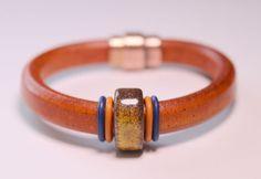 Rust Orange Licorice Leather Bracelet with by OllieBooJewelry, $40.00#crafyab #ollieboojewelry #YEG #Leather #Metallic