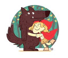 Wolf, be my friend! Little Red Ridding Hood, Red Riding Hood, Wolf Spirit, Red Hood, Cute Images, Werewolf, Illustrators, Fairy Tales, Character Design