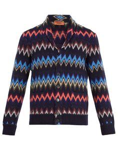 Missoni Chevron-intarsia wool-blend cardigan