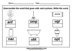 3 letter words - picture unscramble