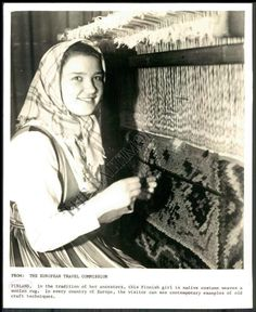 """Finnish WeaverPress photo  """"In the tradition of her ancestors, this Finnish girl in native costume weaves a woolen rug…"""