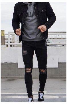 Mens Casual Dress Outfits, Black Outfit Men, Cool Outfits For Men, Stylish Mens Outfits, Black Jacket Outfit, Black Casual Outfits For Men, Stylish Clothes For Men, Men Casual Styles, Hipster Outfits Men