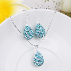 Austrian Crystal Element Multi-Pave Pear Earring and Necklace Set-Teal, Women's