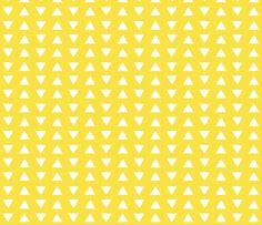 hand drawn triangles yellow fabric by eivie