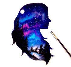Girl in the night shilouette