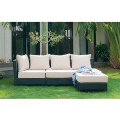 BONDI Sectional Outdoor Patio Set made with a steel frame and black weather resistant polyrattan. Additional pieces can be added to increase seating. Outdoor Sofa, Outdoor Living, Outdoor Furniture Sets, Outdoor Decor, Small Outdoor Spaces, Backyard Patio, Backyard Ideas, Patio Design, Future House